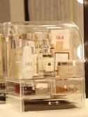 網紅化妝品收納盒透明防塵帶蓋亞克力抽屜式宿舍梳妝臺桌面置物架