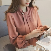 襯衣女2020年新款女士雪紡襯衫女設計感小眾輕熟外穿百搭長袖上衣 聖誕節全館免運