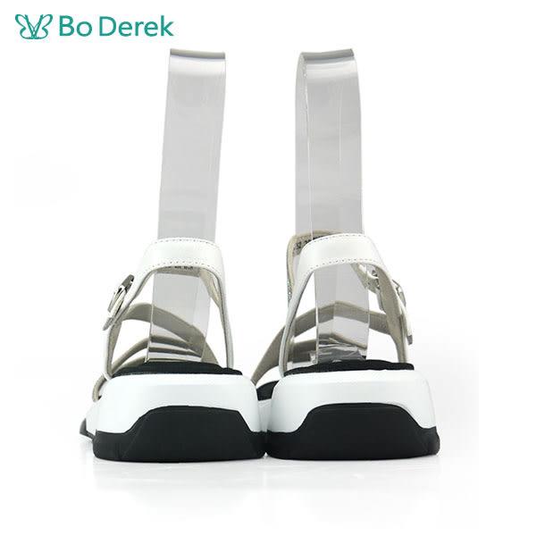 【Bo Derek 】線條排鑽平底涼鞋-白色