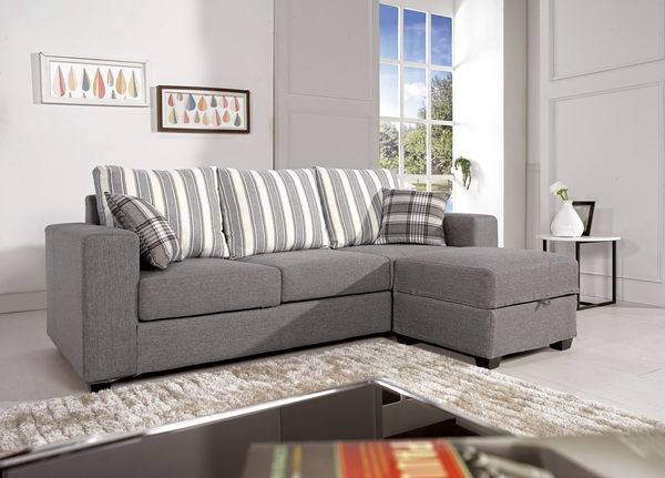 L型沙發   灰色棉麻L型布沙發 ╴美利達家具