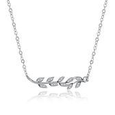 項鍊 鑲鑽925純銀吊墜-精美優雅樹葉生日聖誕節禮物女飾品73lc11【時尚巴黎】