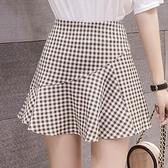 魚尾裙 褲裙女夏新款時尚百褶短裙格子半身裙a字高腰短款花瓣魚尾裙