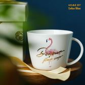藍蓮花火烈鳥金邊杯子馬克杯骨瓷杯陶瓷麥片杯早餐杯粉色少女餐具【星時代家居】