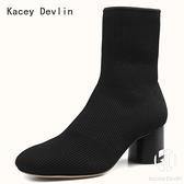 舒適鹿皮內里圓頭粗高跟中筒短靴女飛織彈力襪靴【Kacey Devlin 】