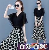 胖MM短袖洋裝 黑色印花連身裙2020年夏天新款氣質雪紡波點中長款顯瘦假兩件套 百分百