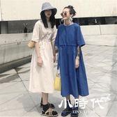 棉麻洋裝-夏季chic收腰系帶寬鬆顯瘦高腰棉麻短袖連身裙中長裙