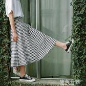 黑白格子半身裙女很仙的法國小眾小清新中長款ins超火的裙子 海角七號