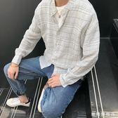 店慶優惠兩天-新品超薄防曬格紋小立領OVERSIZE長袖襯衫襯衣男