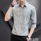 男士條紋襯衫男韓版修身夏季七分袖襯衣痞帥帥氣短袖潮流中袖寸衫 有缘生活馆