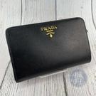 BRAND楓月 PRADA 1M1225 黑防刮皮 經典浮雕LOGO 水波紋皮革 中夾.錢包 錢夾 零錢包