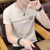 夏季新款短袖t恤男士韓版潮流個性純棉丅恤半截袖男裝上衣服   檸檬衣舍