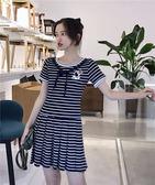 VK精品服飾 韓國風時尚寬鬆條紋修身蝴蝶結短袖洋裝