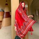 民族風披肩圍巾兩用海邊防曬沙灘絲巾紅色超大紗巾女沙漠旅游拍照 黛尼時尚精品