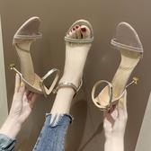 高跟鞋2019新款銀色高跟鞋涼鞋女一字扣細跟 百搭露趾性感細帶女鞋ins潮 名創家居館