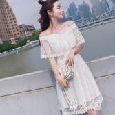 中大尺碼 一字肩洋裝女夏新款韓版露肩白色中長款收腰蕾絲仙女裙 zm1898『男人範』