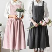 女圍裙兜個性連衣親子花店工作LOGO廚房純棉麻雙肩加長款過膝-享家生活館