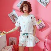 睡衣女套裝短袖兩件套夏季韓版寬鬆純棉清新學生可外穿家居服薄