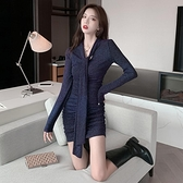 長袖裙裝 2020秋冬季新款性感針織v領連衣裙修身顯瘦內搭打底緊身包臀裙子 風馳