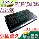 ASUS 電池(保固最久)-華碩 F50,F80,X61,X85,F81,F83,X61W,X61S,X61GX,X61SL,X61Z,X80,A32-F80 -黑