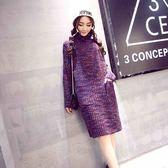 洋裝-長袖冬季寬鬆中長款高領針織女連身裙73pu35[巴黎精品]