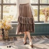 東京著衣【YOCO】輕甜美人絲絨質感荷葉邊蛋糕長裙-S.M.L(172464)