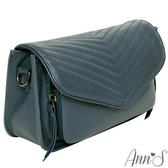 Ann'S頂級全真皮牛皮山形立體車線鍊帶方包-深藍