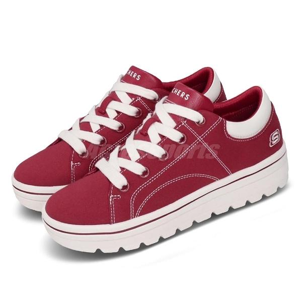 Skechers 休閒鞋 Street Cleat-Bring It Back 紅 白 帆布鞋 厚底 女鞋 【PUMP306】 74100DKRD
