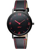 STAR 藝術時尚簡約風情腕錶-黑x紅時標/34mm 9T1407-331D-R