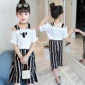 女童短袖上衣夏季褲裙兩件套2018新款時尚兒童吊帶衫洋氣套裝 js1238『科炫3C』