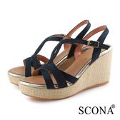 SCONA 蘇格南 真皮 時尚優雅交叉楔型涼鞋 深藍色 31059-1