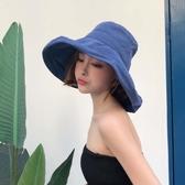 漁夫帽 漁夫帽女夏正韓百搭日系遮臉防曬紫外線遮陽帽子寬檐潮黑色