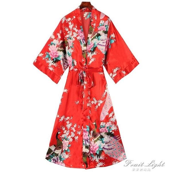 大碼系帶印花休閒和服女日系夏季絲綢開衫顯瘦睡衣睡袍家居服 果果輕時尚