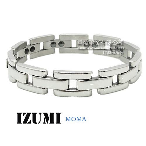 MOMA-【IZUMI】系列白鋼鍺磁手鍊-IS-002 寬版