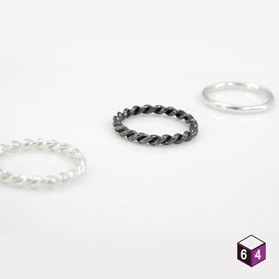 戒指 純銀戒指(套組共3只,可搭配不同款式) 麻花.圓線.黑麻花 戒指-64DESIGN