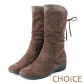 CHOiCE 冬日耀眼 彈力絨布燙鑽楔型中筒靴-咖啡