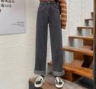 EASON SHOP(GW5354)實拍丹寧做舊多口袋碳黑收腰高腰牛仔褲女長褲顯瘦休閒褲修身直筒褲拖地褲老爹褲