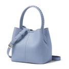 素色時尚編織帶桶型斜背手提包(霧霾藍)...