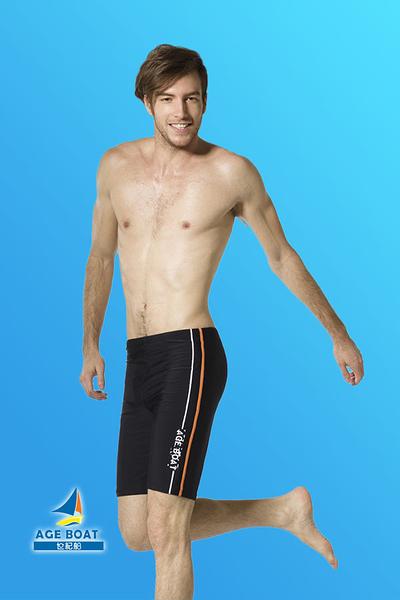 【限時出清 】梅林泳裝↘成本出清~大男黑色黃橘白壓條AGE.BOAT馬褲 NO.M3371