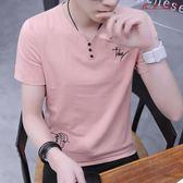 男士V領短袖T恤韓版修身上衣