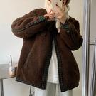 假兩件.韓風保暖毛毛拼接格紋排扣長袖外套.白鳥麗子