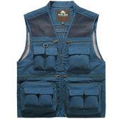 釣魚馬甲 夏季工裝多口袋男士馬甲網眼攝影背心休閒大碼薄款戶外套釣魚坎肩