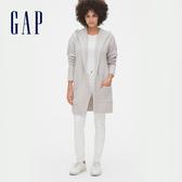 Gap女裝休閒純色無扣開襟針織衫524476-灰白色
