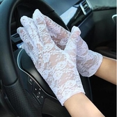 防曬手套女短款夏蕾絲手套騎車開車手套 全館免運