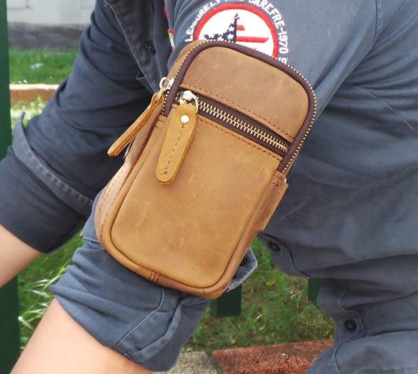 真皮手機包-復古瘋馬皮路跑 手臂鑰匙包 外出包 可調整 手機包 MP3 真皮包 零錢包 收納包(褐色)