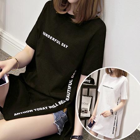 ※現貨 側開叉字母長版T恤/上衣 2色 M-2XL碼【RK67176】