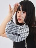 木與石 鍊條包包女毛絨斜背包2021新款時尚百搭小眾設計ins千鳥格 伊蘿