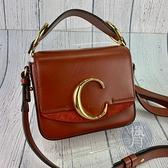 BRAND楓月 Chloe 深咖啡C字包 小款 CHC19US193 肩背包 側背包 斜背包 小包 全皮 掀蓋 大C