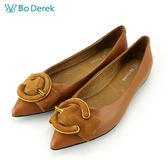【Bo Derek 】 C字扣環真皮平底鞋-棕色