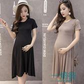 莫代爾孕婦裝韓版時尚孕婦連身裙夏短袖寬鬆新款夏裝孕婦裙中長款