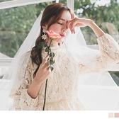 浪漫滿版細緻磨毛蕾絲公主袖洋裝--適 2L~6L OrangeBear《DA7165》